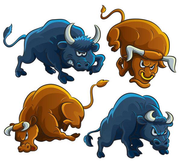 Set of angry bulls design vector 03