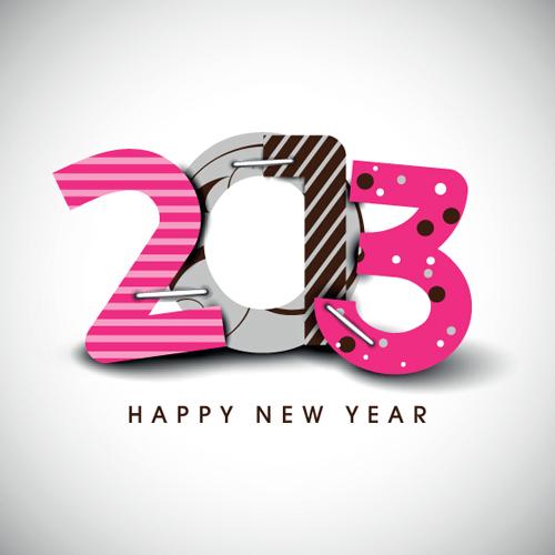 Creative 2013 happy new year figures design vector set 04