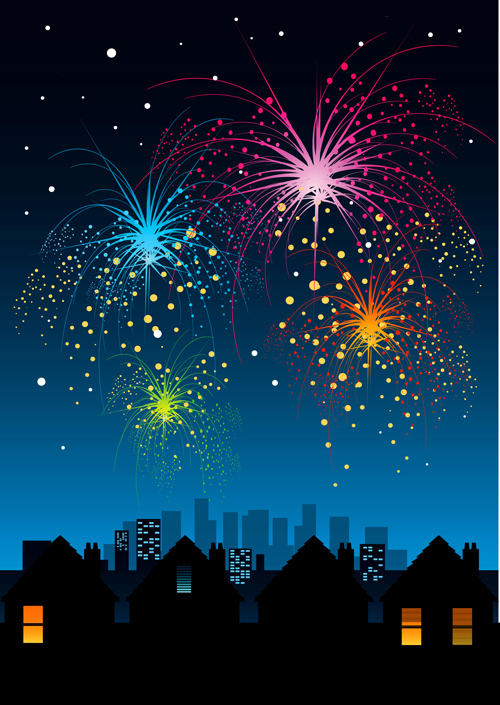 Set of holiday Fireworks design vector material 22