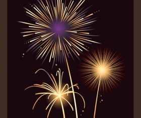 Set of holiday Fireworks design vector material 23