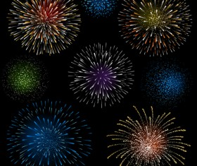 Set of holiday Fireworks design vector material 30