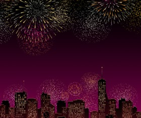Set of holiday Fireworks design vector material 33