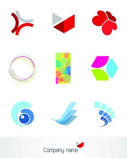 Creative 3d logo design vector set 01 vector logo free for Create logo online free 3d