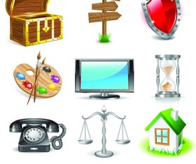 Various 3D icons mix vector graphics 02