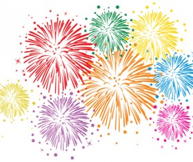 Set of holiday Fireworks design vector material 34