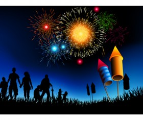Set of holiday Fireworks design vector material 07