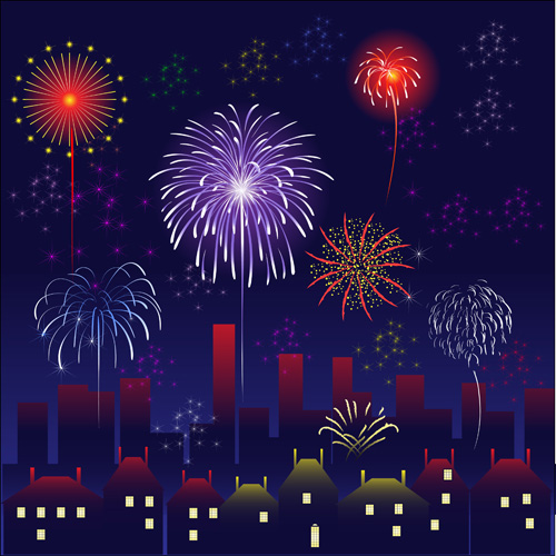 Set of holiday Fireworks design vector material 09