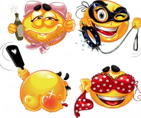 Different Adult Smileys icon vector 01
