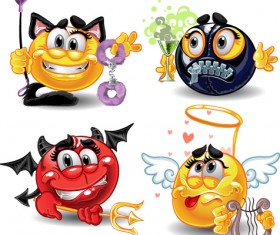 Different Adult Smileys icon vector 04