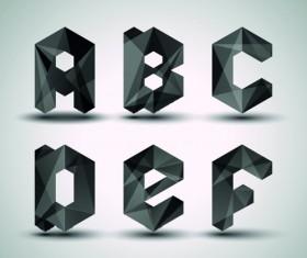 Alphabet letter Black Geometry vector set 02