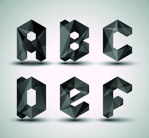 Alphabet letter Black Geometry vector set 02 - Vector Font free ...