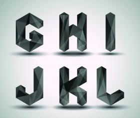 Alphabet letter Black Geometry vector set 03