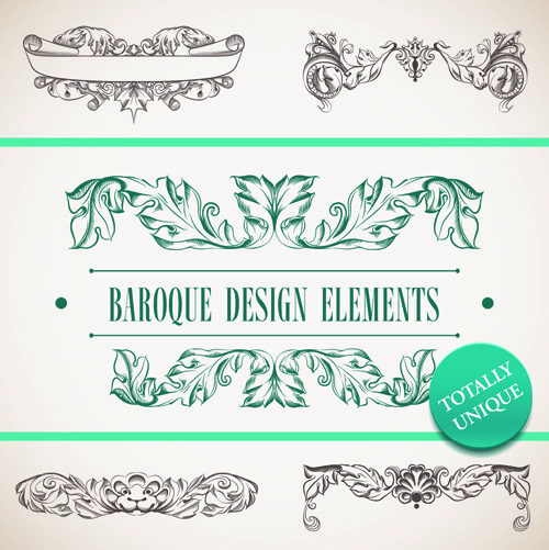 Elements of Baroque Style Frames and Borders vector 02 free download