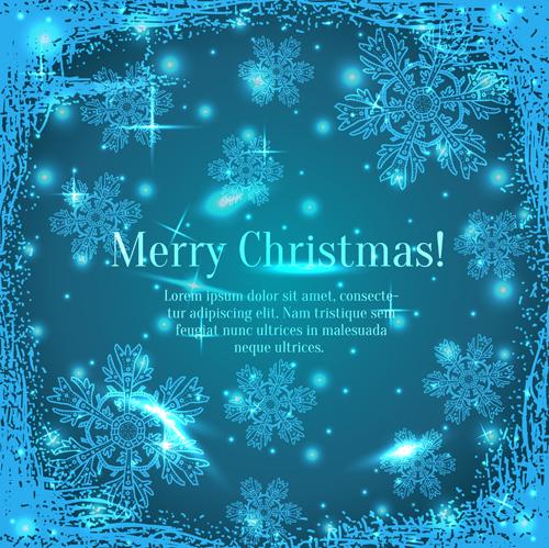 Shiny Blue Merry Christmas cards design vector 01