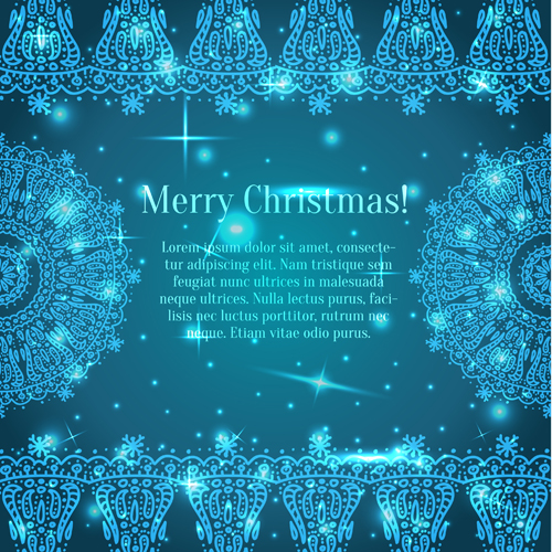 Shiny Blue Merry Christmas cards design vector 03