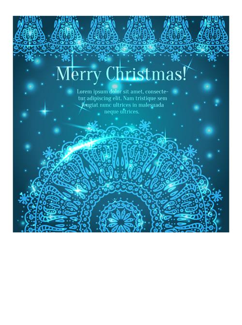 Shiny Blue Merry Christmas cards design vector 04
