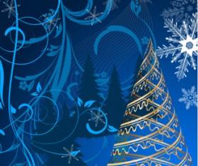 Set of Blue charm Christmas cards vector 01
