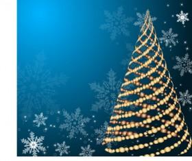 Set of Blue charm Christmas cards vector 02