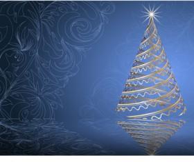 Set of Blue charm Christmas cards vector 03