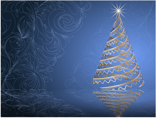 Set of Blue charm Christmas cards vector 03