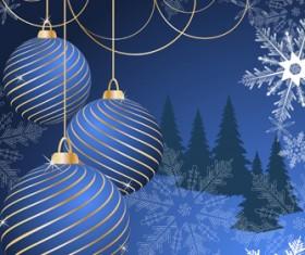 Set of Blue charm Christmas cards vector 04