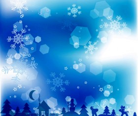 Blue style Snow backgrounds design vector material 02