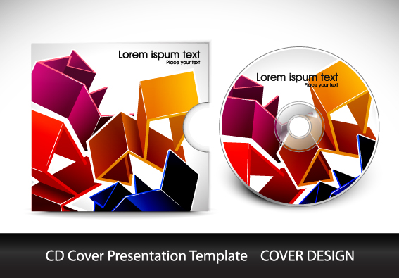 CD cover presentation vector template material 04 free download