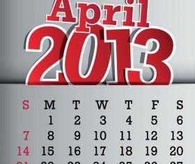 Calendar April 2013 design vector graphic 04