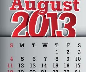 Calendar August 2013 design vector graphic 08