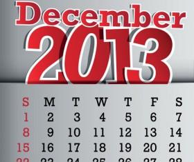 Calendar December 2013 design vector graphic 12