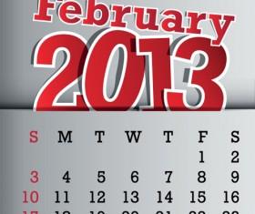 Calendar February 2013 design vector graphic 02