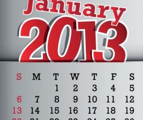 Calendar January 2013 design vector graphic 01