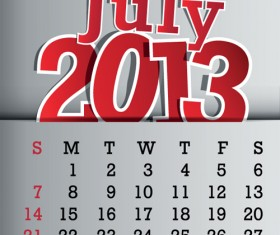 Calendar July 2013 design vector graphic 07