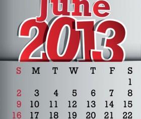 Calendar June 2013 design vector graphic 06