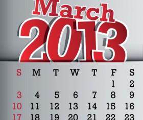 Calendar March 2013 design vector graphic 03