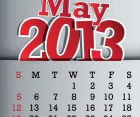 Calendar May 2013 design vector graphic 05