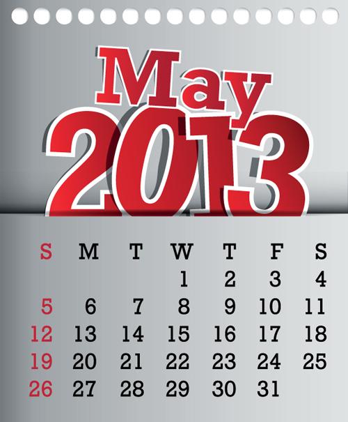 calendar may 2013 design vector graphic 05 free download