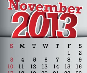 Calendar November 2013 design vector graphic 11