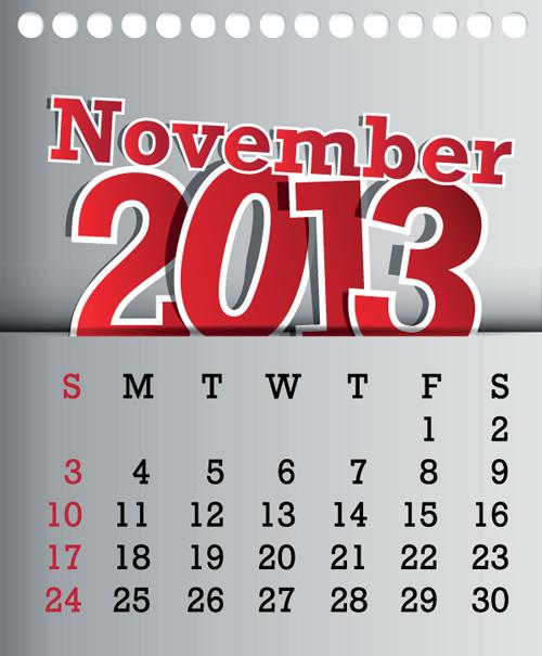 Calendar November 2013 design vector graphic 11 free download