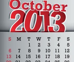 Calendar October 2013 design vector graphic 10