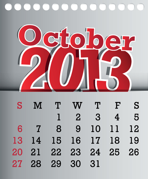 Calendar October 2013 design vector graphic 10