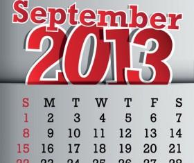 Calendar September 2013 design vector graphic 09