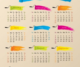 Elements of Calendar grid 2013 design vector set 11