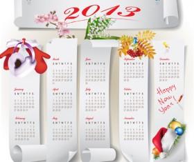 Elements of Calendar grid 2013 design vector set 13