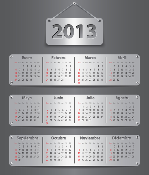 Elements of Calendar grid 2013 design vector set 14