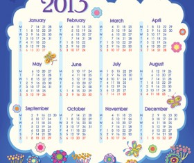 Elements of Calendar grid 2013 design vector set 02