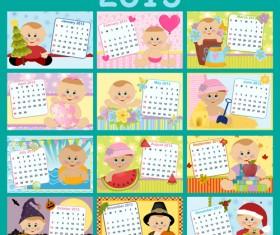 Elements of Calendar grid 2013 design vector set 03