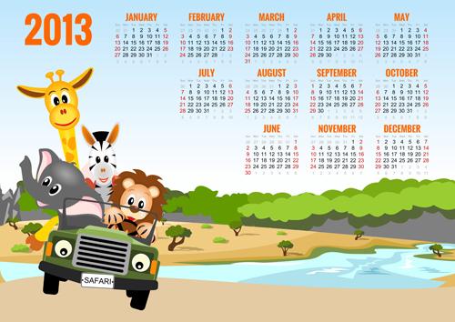 Elements of Calendar grid 2013 design vector set 04