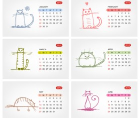 Elements of Calendar grid 2013 design vector set 09