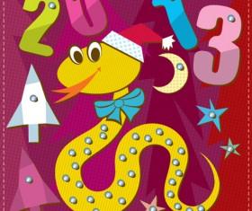 Cartoon Christmas and 2013 New Year Clipart vector 04